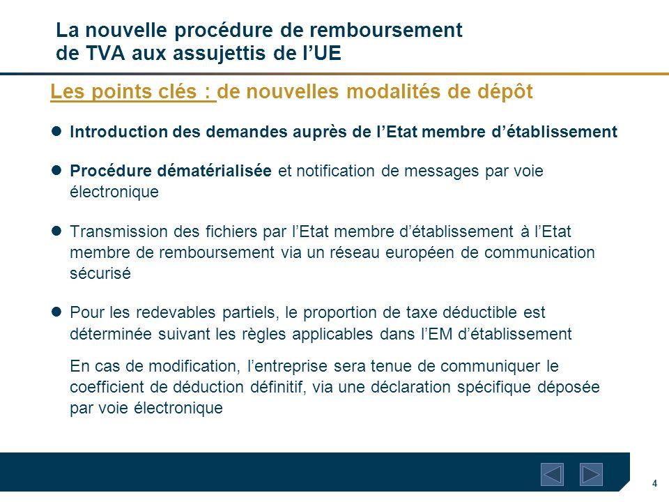 4 La nouvelle procédure de remboursement de TVA aux assujettis de lUE Les points clés : de nouvelles modalités de dépôt Introduction des demandes aupr