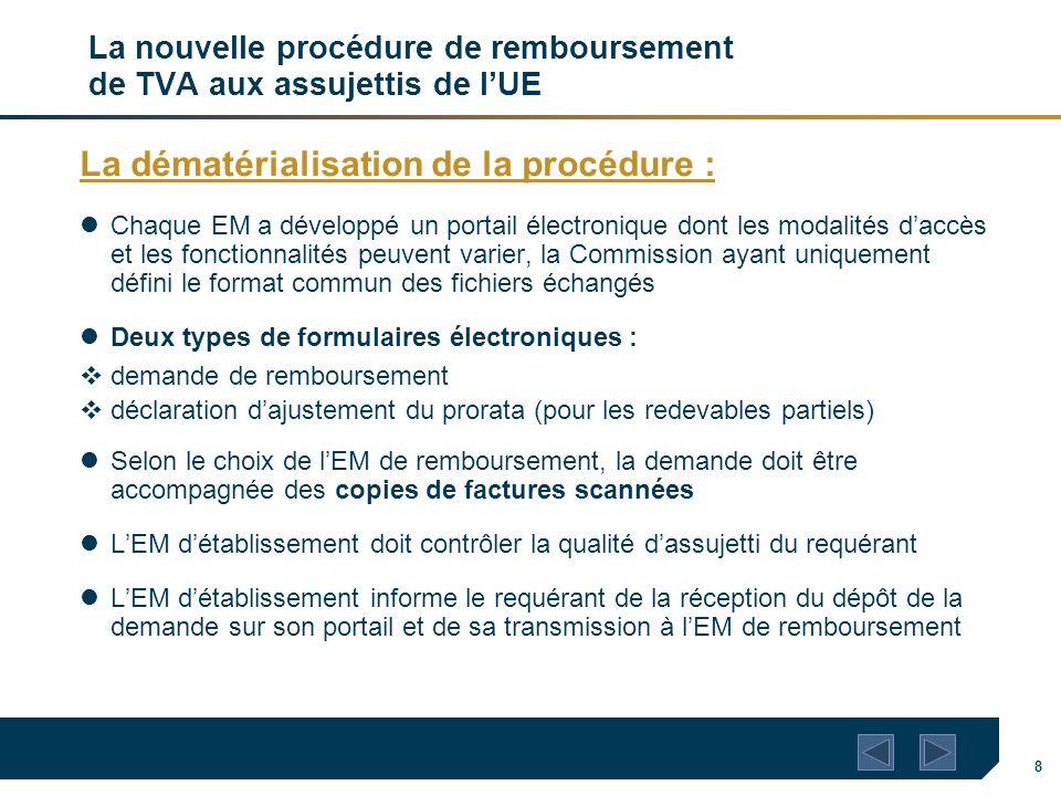 8 La nouvelle procédure de remboursement de TVA aux assujettis de lUE La dématérialisation de la procédure : Chaque EM a développé un portail électron