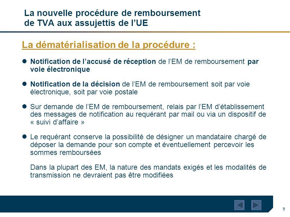 9 La nouvelle procédure de remboursement de TVA aux assujettis de lUE La dématérialisation de la procédure : Notification de laccusé de réception de l