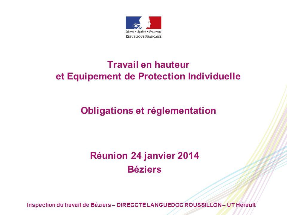 Inspection du travail de Béziers – DIRECCTE LANGUEDOC ROUSSILLON – UT Hérault 2222 Lignes directrices De quoi parle-t-on .