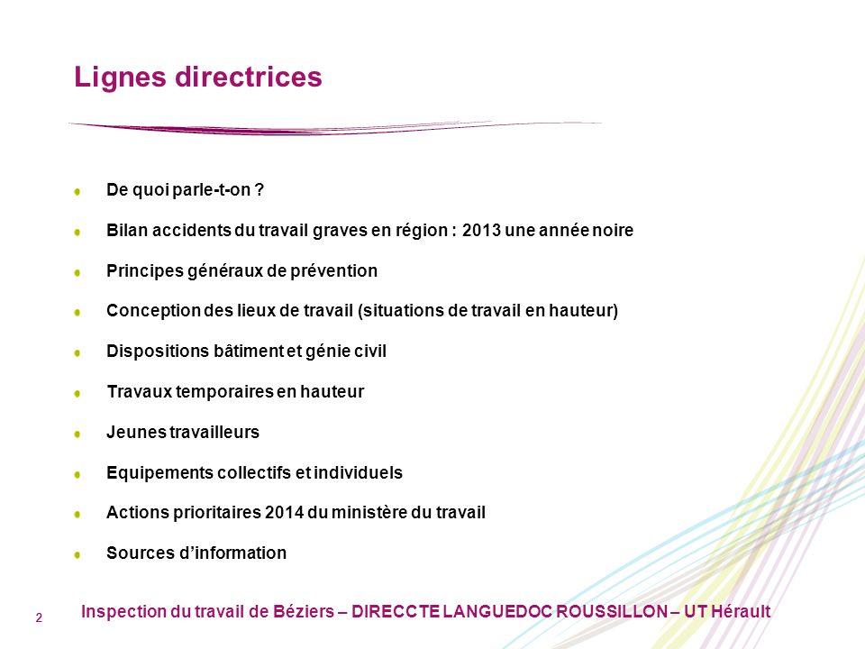 Inspection du travail de Béziers – DIRECCTE LANGUEDOC ROUSSILLON – UT Hérault 3 De quoi parle-t-on .