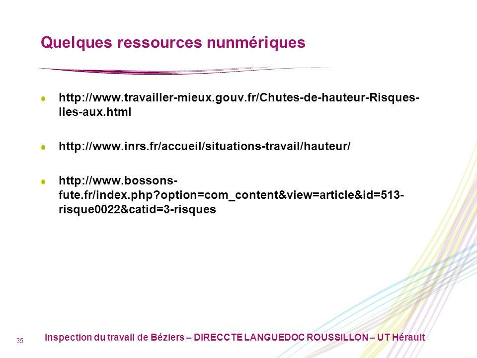 Inspection du travail de Béziers – DIRECCTE LANGUEDOC ROUSSILLON – UT Hérault 35 Quelques ressources nunmériques http://www.travailler-mieux.gouv.fr/C
