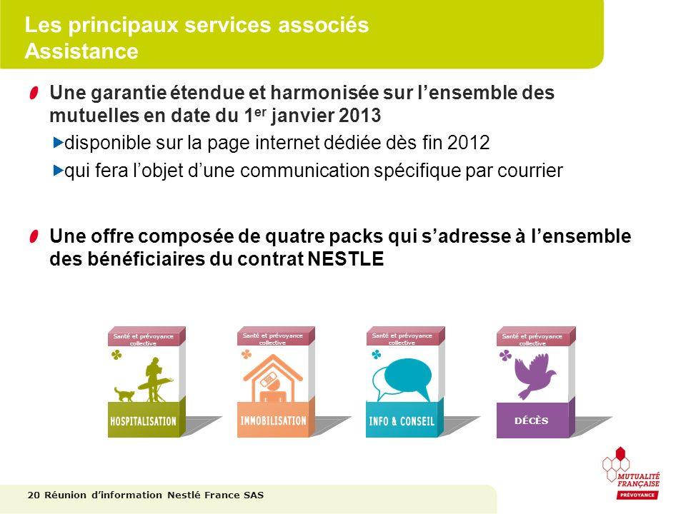 Les principaux services associés Assistance Une garantie étendue et harmonisée sur lensemble des mutuelles en date du 1 er janvier 2013 disponible sur