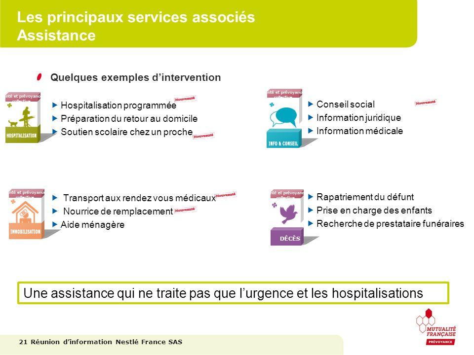 Les principaux services associés Assistance 21 Réunion dinformation Nestlé France SAS Santé et prévoyance collective Santé et prévoyance collective Sa
