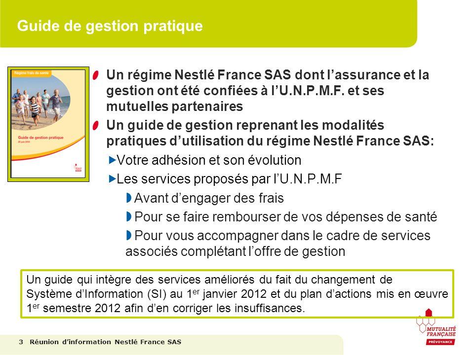 Guide de gestion pratique Un régime Nestlé France SAS dont lassurance et la gestion ont été confiées à lU.N.P.M.F. et ses mutuelles partenaires Un gui