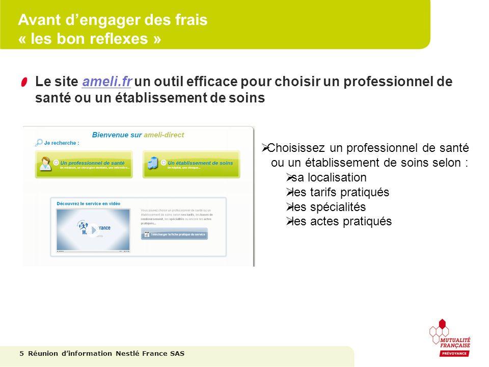 Avant dengager des frais « les bon reflexes » Le site ameli.fr un outil efficace pour choisir un professionnel de santé ou un établissement de soins 5