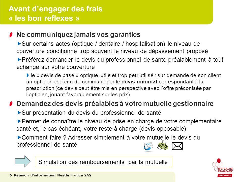 Créer son compte internet 17 https://nestle.mutex.fr Mot de passe initial : votre date de naissance au format JJMMAAAA Réunion dinformation Nestlé France SAS