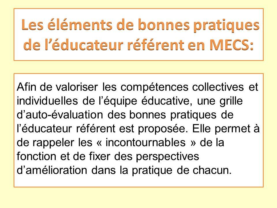 Afin de valoriser les compétences collectives et individuelles de léquipe éducative, une grille dauto-évaluation des bonnes pratiques de léducateur ré