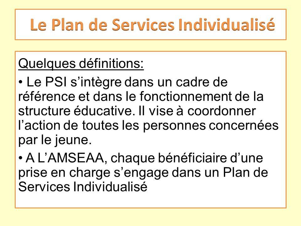 Quelques définitions: Le PSI sintègre dans un cadre de référence et dans le fonctionnement de la structure éducative. Il vise à coordonner laction de