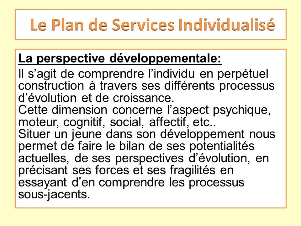 La perspective développementale: Il sagit de comprendre lindividu en perpétuel construction à travers ses différents processus dévolution et de croiss