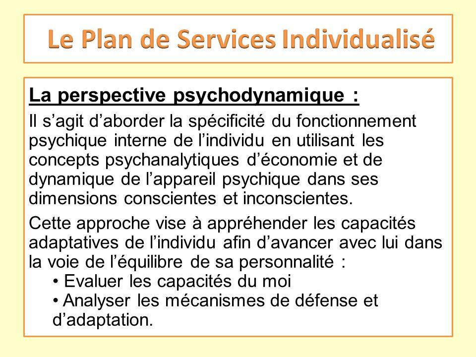 La perspective psychodynamique : Il sagit daborder la spécificité du fonctionnement psychique interne de lindividu en utilisant les concepts psychanal