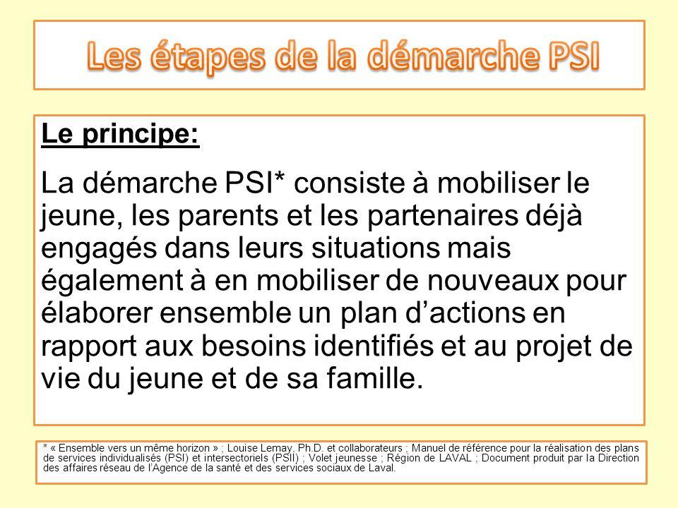 Le principe: La démarche PSI* consiste à mobiliser le jeune, les parents et les partenaires déjà engagés dans leurs situations mais également à en mob