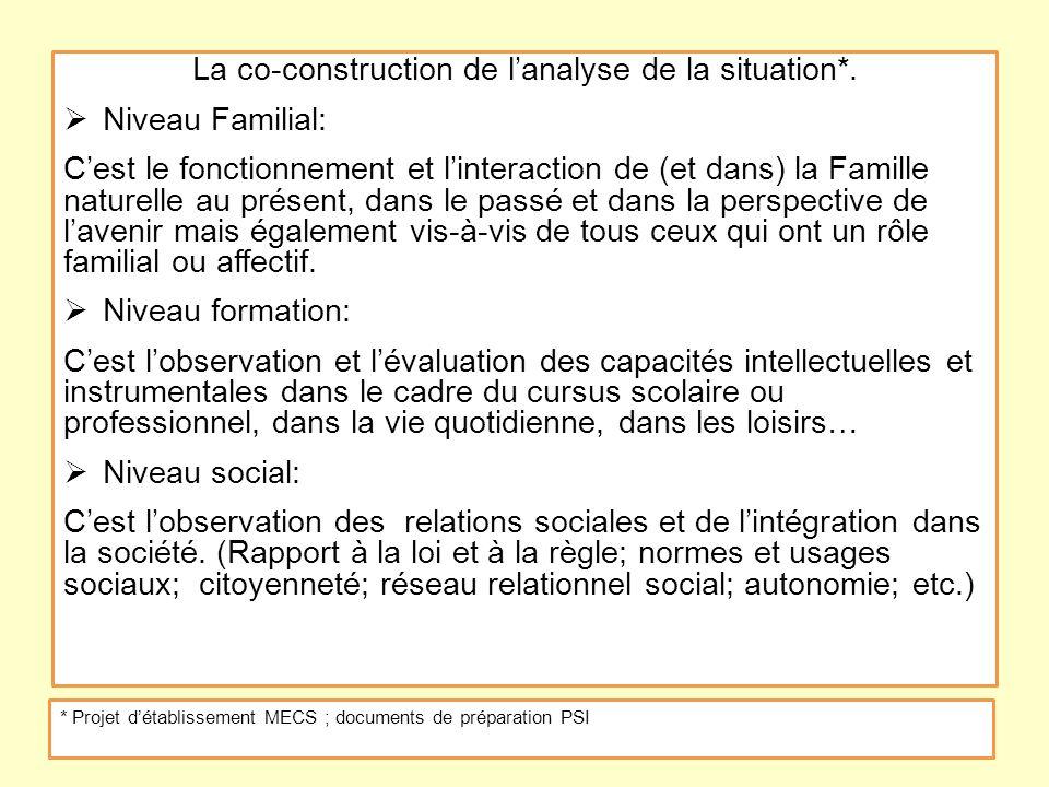 La co-construction de lanalyse de la situation*. Niveau Familial: Cest le fonctionnement et linteraction de (et dans) la Famille naturelle au présent,