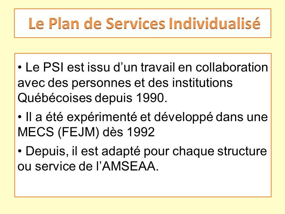 Le PSI est issu dun travail en collaboration avec des personnes et des institutions Québécoises depuis 1990. Il a été expérimenté et développé dans un