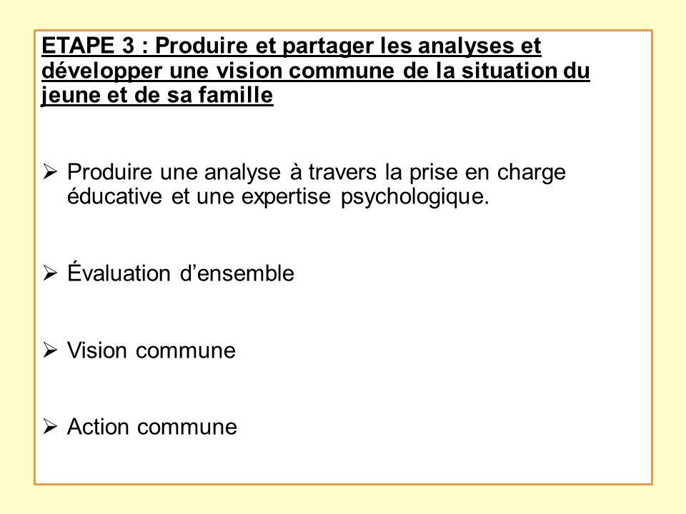 ETAPE 3 : Produire et partager les analyses et développer une vision commune de la situation du jeune et de sa famille Produire une analyse à travers