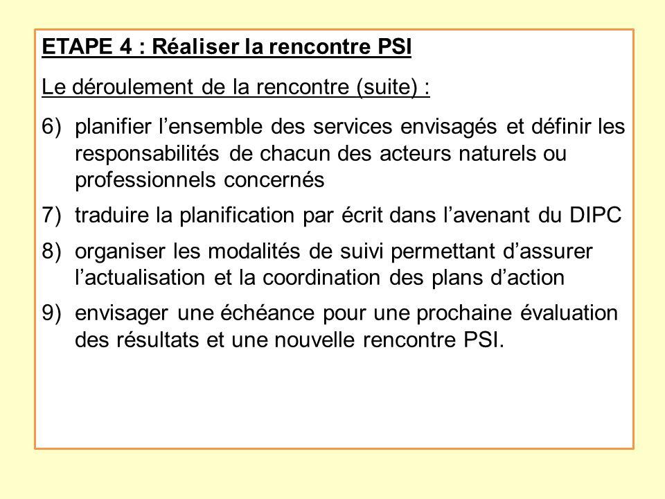 ETAPE 4 : Réaliser la rencontre PSI Le déroulement de la rencontre (suite) : 6)planifier lensemble des services envisagés et définir les responsabilit
