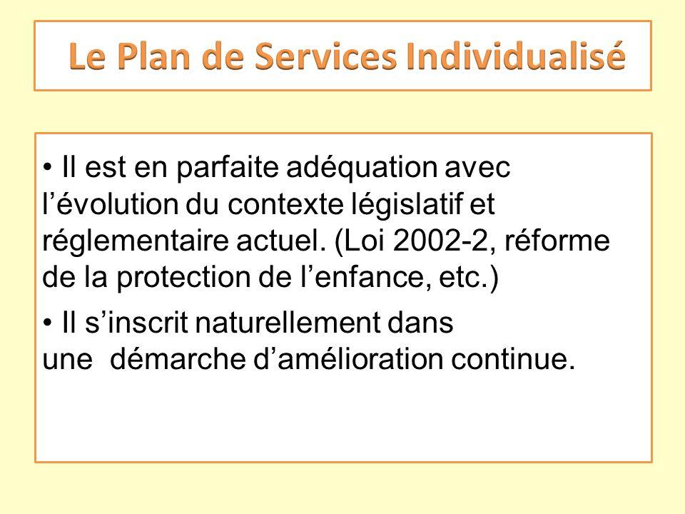 Il est en parfaite adéquation avec lévolution du contexte législatif et réglementaire actuel. (Loi 2002-2, réforme de la protection de lenfance, etc.)
