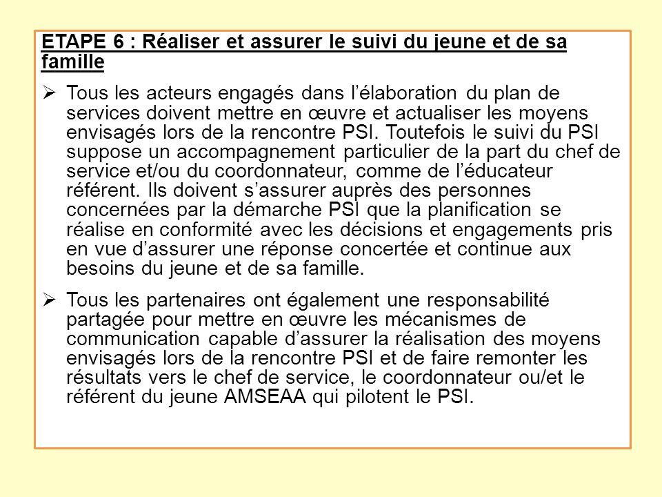 ETAPE 6 : Réaliser et assurer le suivi du jeune et de sa famille Tous les acteurs engagés dans lélaboration du plan de services doivent mettre en œuvr