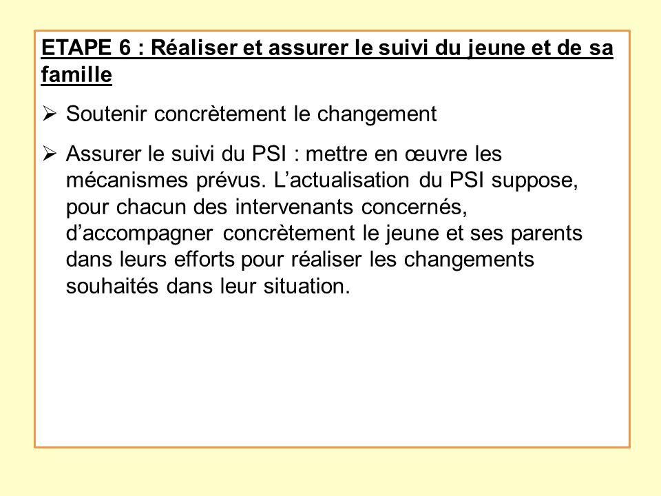 ETAPE 6 : Réaliser et assurer le suivi du jeune et de sa famille Soutenir concrètement le changement Assurer le suivi du PSI : mettre en œuvre les méc