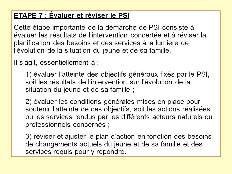 ETAPE 7 : Évaluer et réviser le PSI Cette étape importante de la démarche de PSI consiste à évaluer les résultats de lintervention concertée et à révi