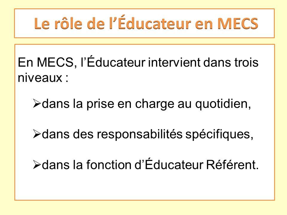 En MECS, lÉducateur intervient dans trois niveaux : dans la prise en charge au quotidien, dans des responsabilités spécifiques, dans la fonction dÉduc