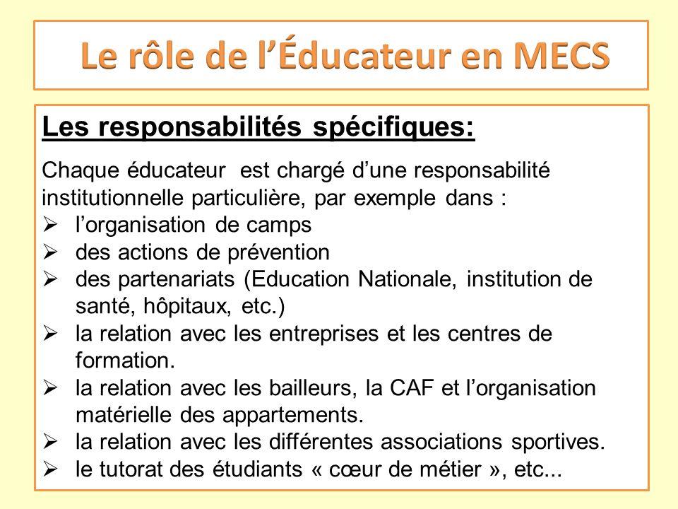 Les responsabilités spécifiques: Chaque éducateur est chargé dune responsabilité institutionnelle particulière, par exemple dans : lorganisation de ca