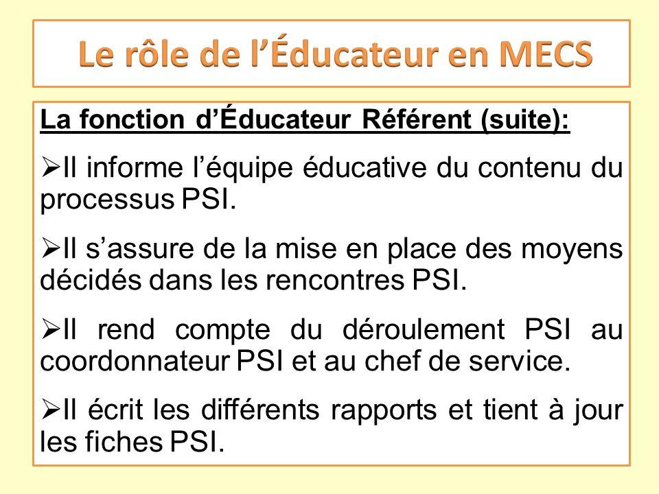 La fonction dÉducateur Référent (suite): Il informe léquipe éducative du contenu du processus PSI. Il sassure de la mise en place des moyens décidés d