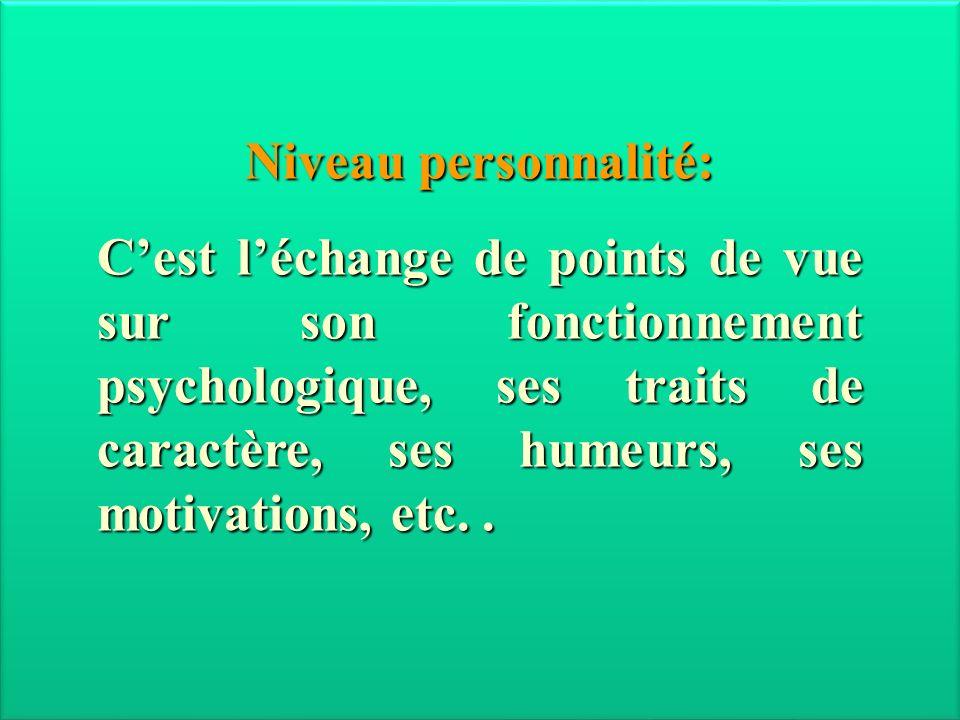 Niveau personnalité: Cest léchange de points de vue sur son fonctionnement psychologique, ses traits de caractère, ses humeurs, ses motivations, etc..