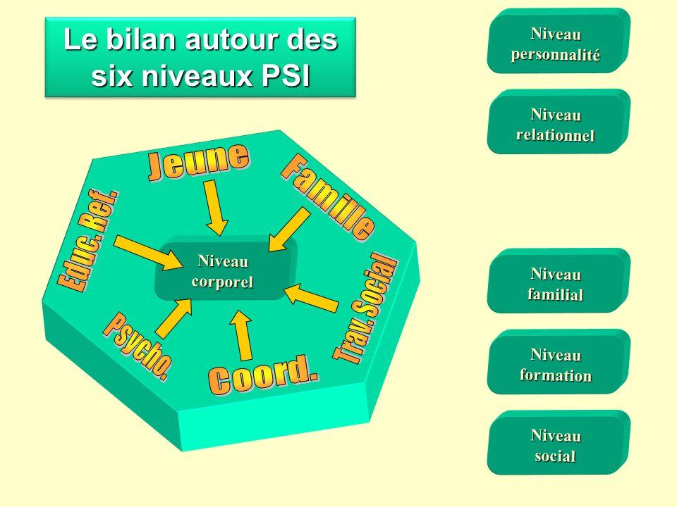 Le bilan autour des six niveaux PSI Niveaufamilial Niveaucorporel Niveauformation Niveausocial Niveaurelationnel Niveaupersonnalité