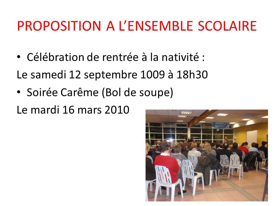 PROPOSITION A LENSEMBLE SCOLAIRE Célébration de rentrée à la nativité : Le samedi 12 septembre 1009 à 18h30 Soirée Carême (Bol de soupe) Le mardi 16 m