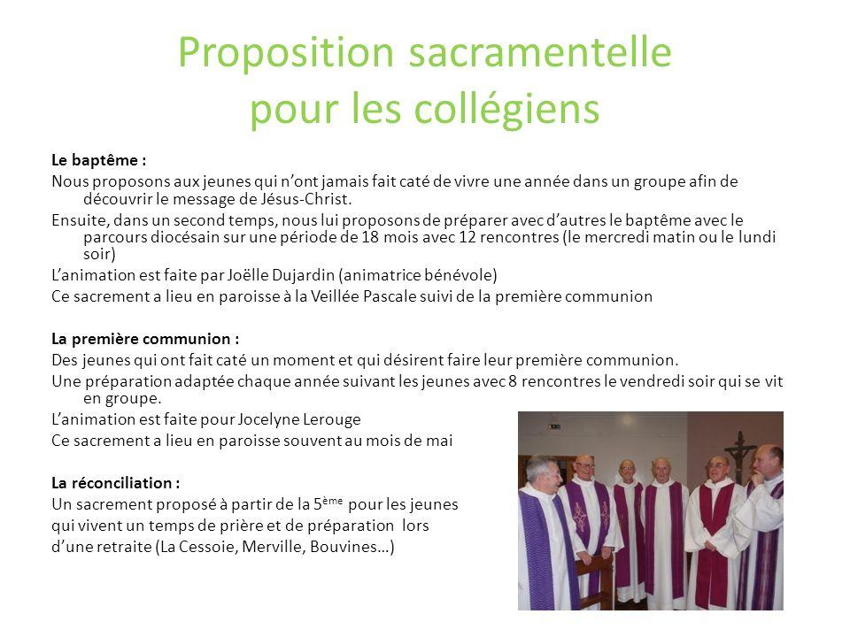 Proposition sacramentelle pour les collégiens Le baptême : Nous proposons aux jeunes qui nont jamais fait caté de vivre une année dans un groupe afin
