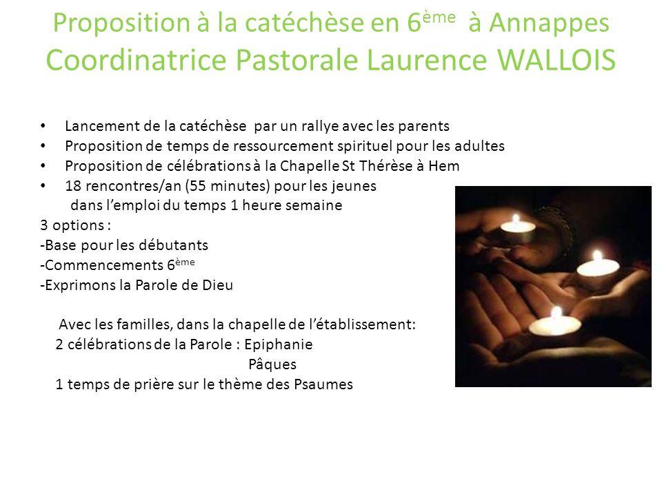 Proposition à la catéchèse en 6 ème à Annappes Coordinatrice Pastorale Laurence WALLOIS Lancement de la catéchèse par un rallye avec les parents Propo
