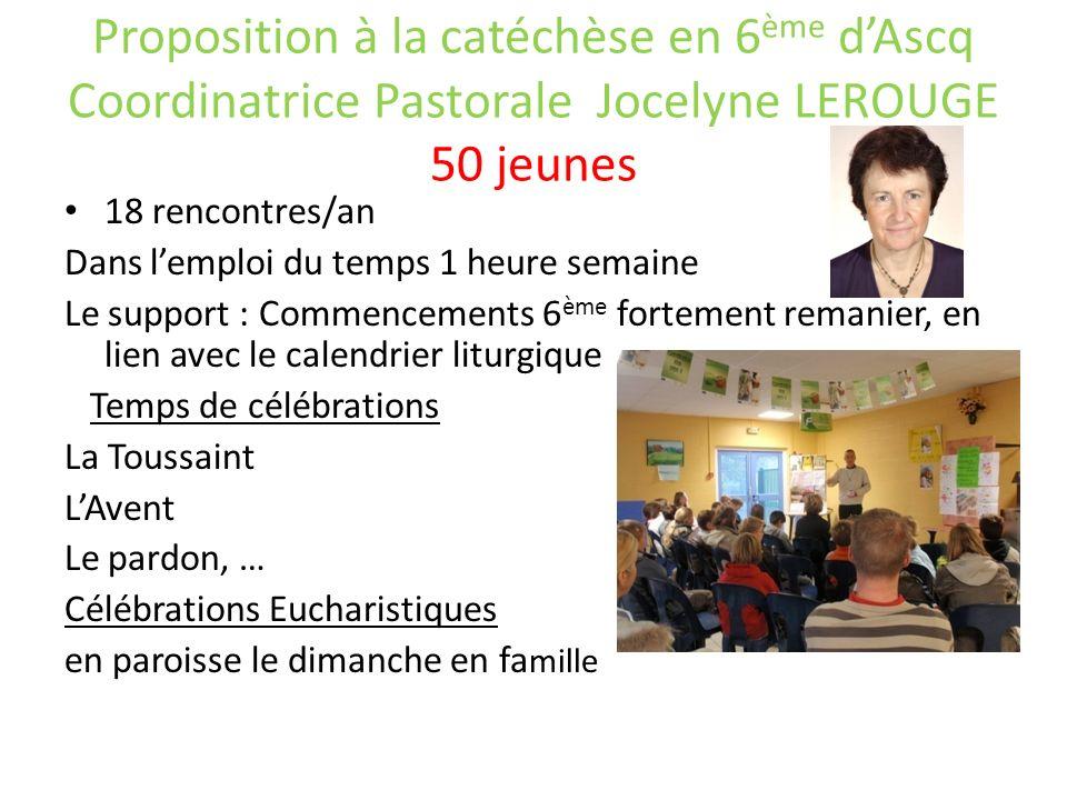 Proposition à la catéchèse en 6 ème dAscq Coordinatrice Pastorale Jocelyne LEROUGE 50 jeunes 18 rencontres/an Dans lemploi du temps 1 heure semaine Le