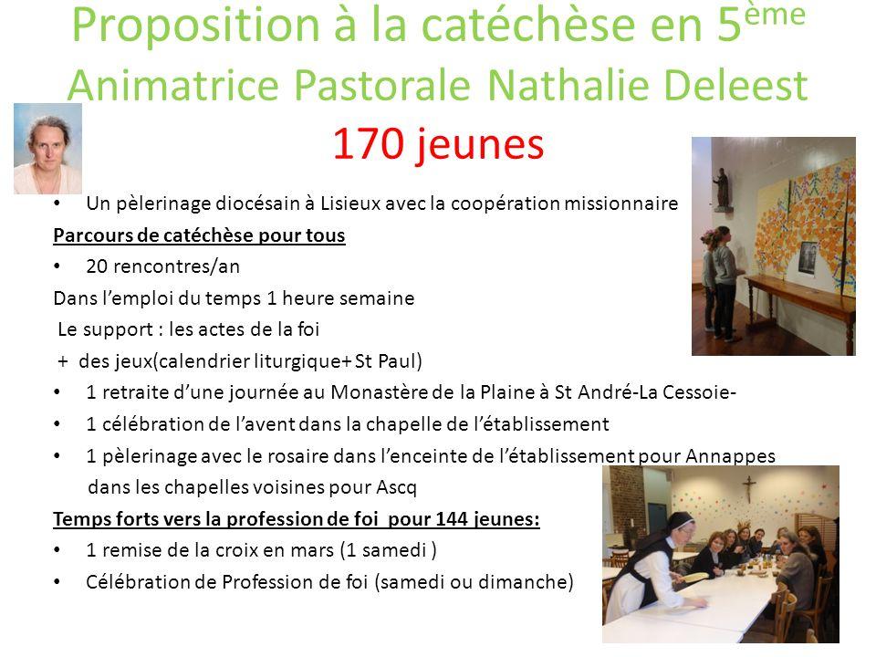 Proposition à la catéchèse en 5 ème Animatrice Pastorale Nathalie Deleest 170 jeunes Un pèlerinage diocésain à Lisieux avec la coopération missionnair