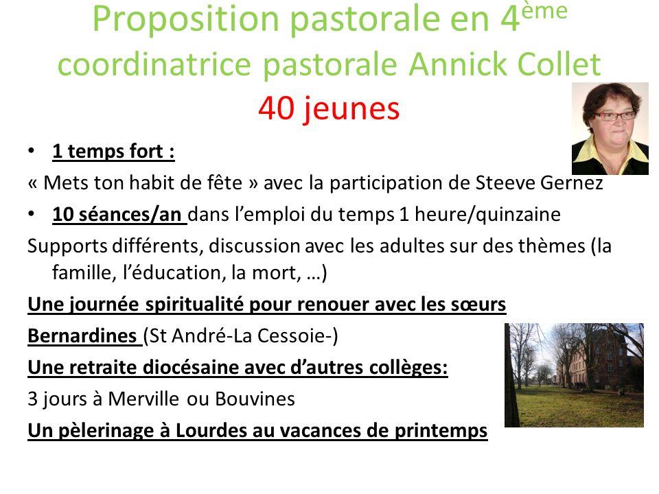 Proposition pastorale en 4 ème coordinatrice pastorale Annick Collet 40 jeunes 1 temps fort : « Mets ton habit de fête » avec la participation de Stee