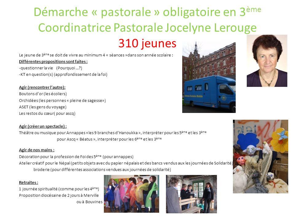 Démarche « pastorale » obligatoire en 3 ème Coordinatrice Pastorale Jocelyne Lerouge 310 jeunes Le jeune de 3 ème se doit de vivre au minimum 4 « séan