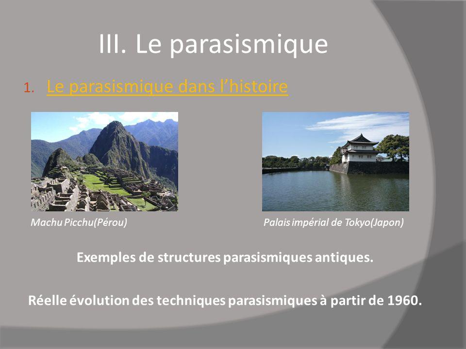 III. Le parasismique 1. Le parasismique dans lhistoire Machu Picchu(Pérou) Palais impérial de Tokyo(Japon) Exemples de structures parasismiques antiqu