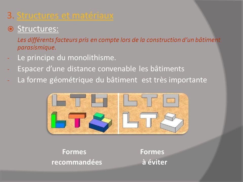 3. Structures et matériaux Structures: Les différents facteurs pris en compte lors de la construction dun bâtiment parasismique. - Le principe du mono
