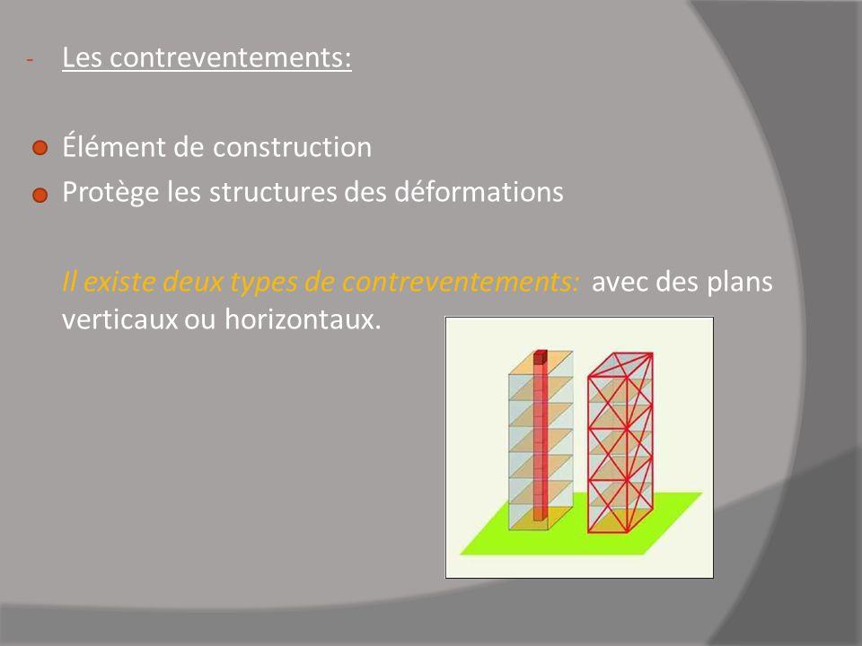 - Les contreventements: Élément de construction Protège les structures des déformations Il existe deux types de contreventements: avec des plans verti