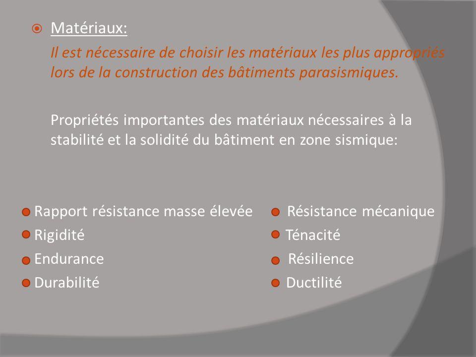 Matériaux: Il est nécessaire de choisir les matériaux les plus appropriés lors de la construction des bâtiments parasismiques. Propriétés importantes