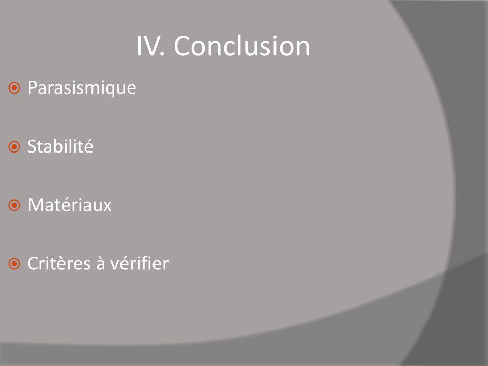 Parasismique Stabilité Matériaux Critères à vérifier