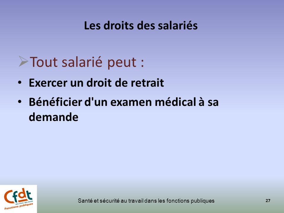 Les droits des salariés Santé et sécurité au travail dans les fonctions publiques Tout salarié peut : Exercer un droit de retrait Bénéficier d'un exam