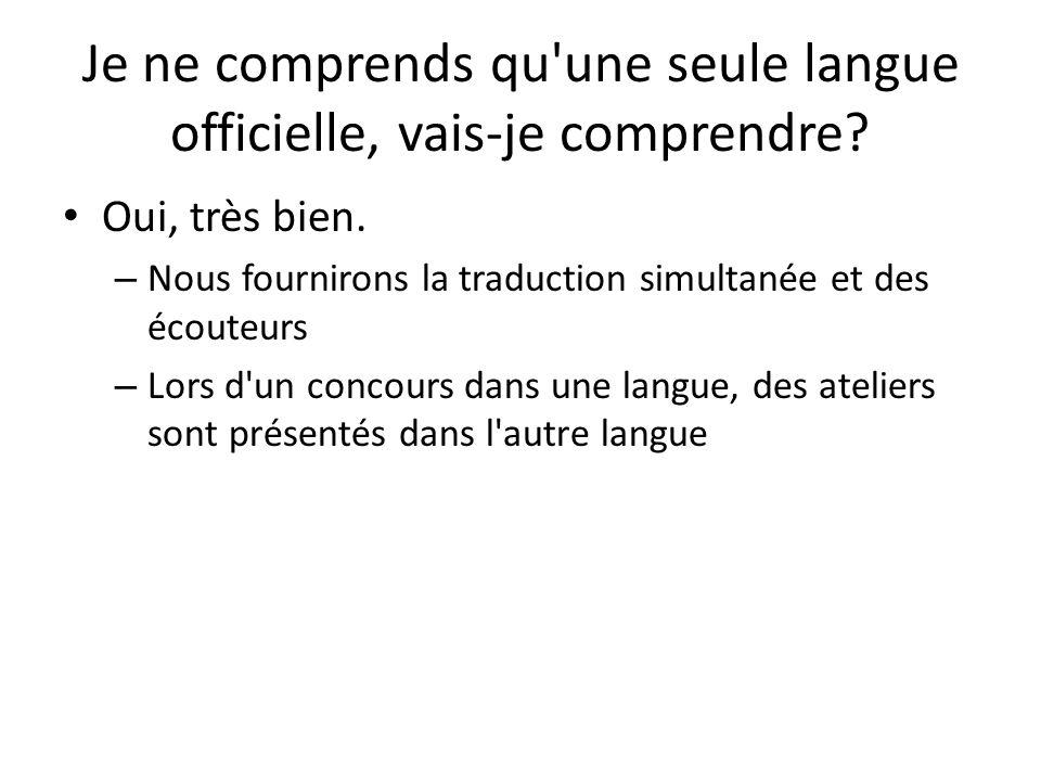 Je ne comprends qu'une seule langue officielle, vais-je comprendre? Oui, très bien. – Nous fournirons la traduction simultanée et des écouteurs – Lors