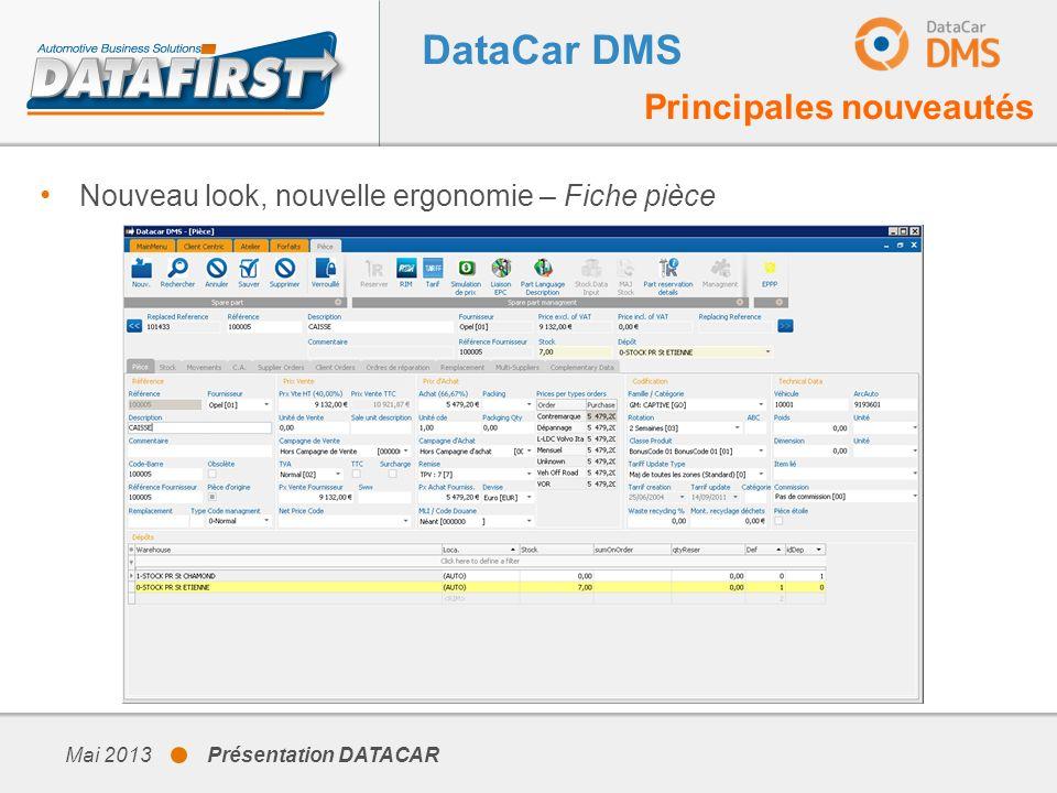 Mai 2013 Présentation DATACAR DataCar DMS Principales nouveautés Nouveau look, nouvelle ergonomie – Fiche pièce