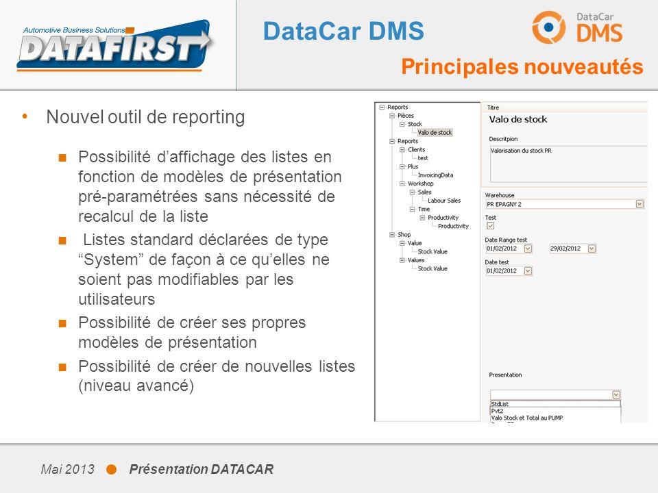 DataCar DMS Principales nouveautés Nouvel outil de reporting Possibilité daffichage des listes en fonction de modèles de présentation pré-paramétrées