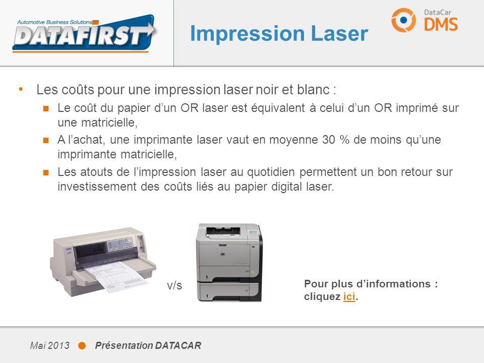 Mai 2013 Présentation DATACAR Les coûts pour une impression laser noir et blanc : Le coût du papier dun OR laser est équivalent à celui dun OR imprimé