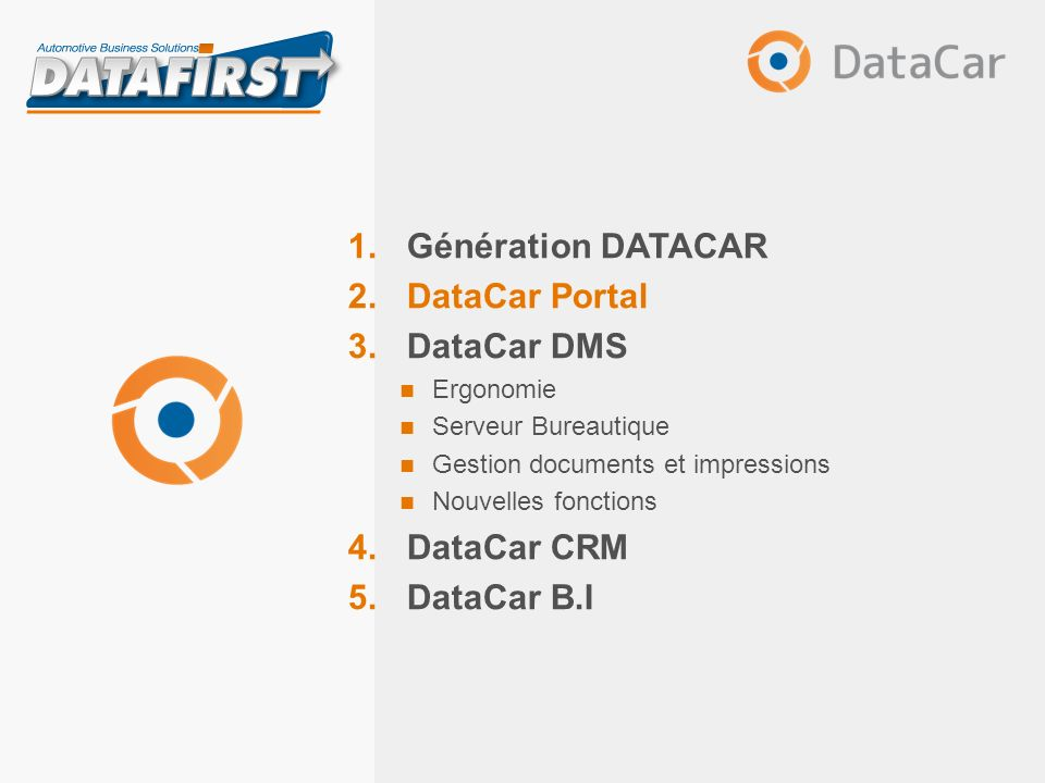1.Génération DATACAR 2.DataCar Portal 3.DataCar DMS Ergonomie Serveur Bureautique Gestion documents et impressions Nouvelles fonctions 4.DataCar CRM 5