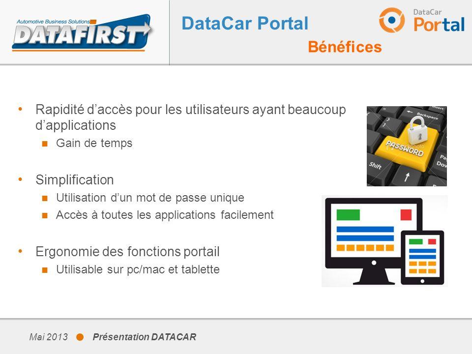 Mai 2013 Présentation DATACAR DataCar DMS Principales nouveautés Nouveau look, nouvelle ergonomie – Saisie directe dans les grilles (APV)