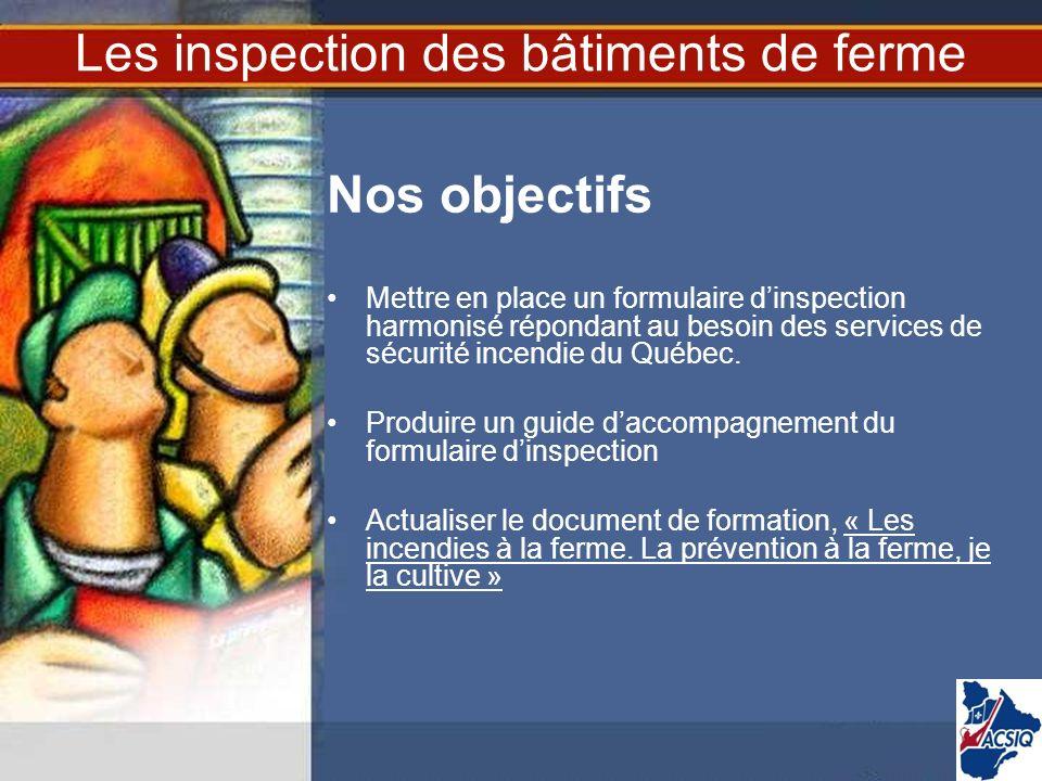 Les inspection des bâtiments de ferme Nos objectifs Mettre en place un formulaire dinspection harmonisé répondant au besoin des services de sécurité i