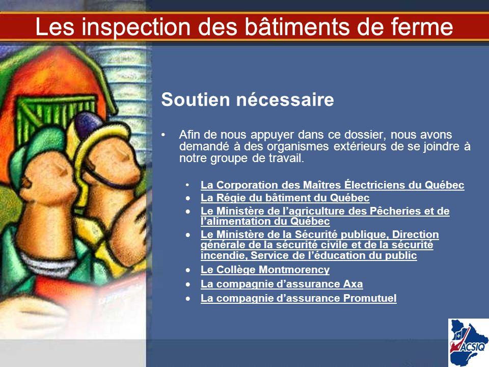 Les inspection des bâtiments de ferme Soutien nécessaire Afin de nous appuyer dans ce dossier, nous avons demandé à des organismes extérieurs de se jo